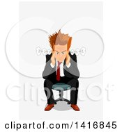 Clipart Of A Furious White Business Man Sitting In A Chair Royalty Free Vector Illustration by Vector Tradition SM