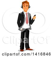 Clipart Of A White Business Man Listening To Music On An Mp3 Player Royalty Free Vector Illustration by Vector Tradition SM