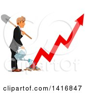Clipart Of A White Business Man Watering A Growth Arrow Royalty Free Vector Illustration