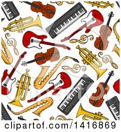 Clipart Of A Seamless Background Pattern Of Instruments Royalty Free Vector Illustration