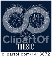 Clipart Of A Heart Made Of Sketched Musical Instruments And Text On Blue Royalty Free Vector Illustration by Seamartini Graphics
