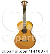 Clipart Of A Brown Acoustic Guitar Royalty Free Vector Illustration by Vector Tradition SM