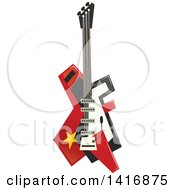 Clipart Of An Electric Guitar Royalty Free Vector Illustration by Seamartini Graphics