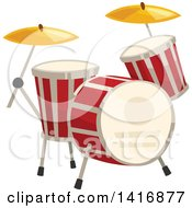 Clipart Of A Set Of Drums Royalty Free Vector Illustration
