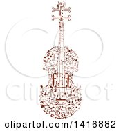 Clipart Of A Violin Formed Of Brown Music Notes Royalty Free Vector Illustration by Vector Tradition SM