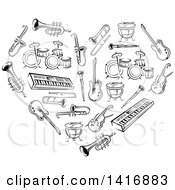 Clipart Of A Heart Made Of Black Sketched Musical Instruments Royalty Free Vector Illustration by Seamartini Graphics