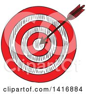 Clipart Of A Sketched Arrow In A Target Royalty Free Vector Illustration