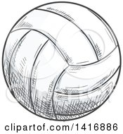 Clipart Of A Sketched Volleyball Royalty Free Vector Illustration by Vector Tradition SM