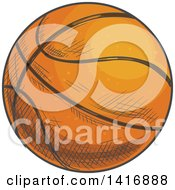 Clipart Of A Sketched Basketball Royalty Free Vector Illustration by Vector Tradition SM