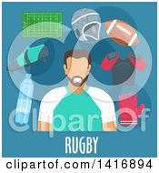 Clipart Of A Flat Design Male Avatar With Rugby Gear Royalty Free Vector Illustration by Vector Tradition SM
