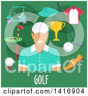 Clipart Of A Flat Design Male Avatar With Golf Gear Royalty Free Vector Illustration by Vector Tradition SM