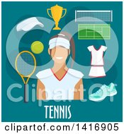 Clipart Of A Flat Design Woman Avatar With Tennis Icons Royalty Free Vector Illustration by Vector Tradition SM
