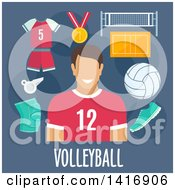 Clipart Of A Flat Design Man Avatar With Volleyball Icons Royalty Free Vector Illustration