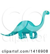 Clipart Of A Blue Brontosaurus Apatosaurus Dinosaur Royalty Free Vector Illustration by Vector Tradition SM
