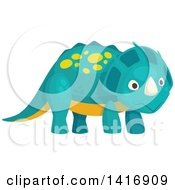 Clipart Of A Cute Triceratops Dinosaur Royalty Free Vector Illustration
