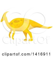 Clipart Of A Yellow Parasaurolophus Dinosaur Royalty Free Vector Illustration