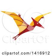 Clipart Of A Flying Pterodactyl Dinosaur Royalty Free Vector Illustration by Vector Tradition SM