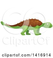 Clipart Of A Green Ankylosaurus Dinosaur Royalty Free Vector Illustration