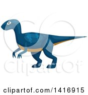 Clipart Of A Blue Raptor Dinosaur Royalty Free Vector Illustration by Vector Tradition SM