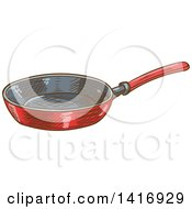 Clipart Of A Sketched Frying Pan Royalty Free Vector Illustration by Vector Tradition SM