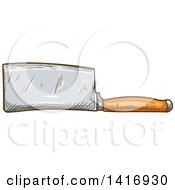Clipart Of A Sketched Knife Royalty Free Vector Illustration
