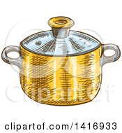 Clipart Of A Sketched Pot Royalty Free Vector Illustration by Vector Tradition SM