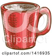 Clipart Of A Sketched Coffee Mug Royalty Free Vector Illustration