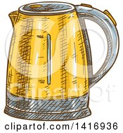 Clipart Of A Sketched Coffee Percolator Royalty Free Vector Illustration