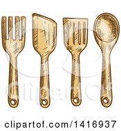 Clipart Of Sketched Kitchen Utensils Royalty Free Vector Illustration