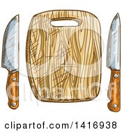 Clipart Of A Sketched Cutting Board And Knives Royalty Free Vector Illustration