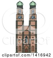 Clipart Of A Sketched German Landmark Frauenkirche Cathedral Royalty Free Vector Illustration