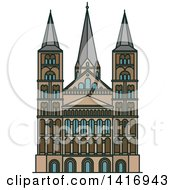 Clipart Of A Sketched German Landmark Bonn Cathedral Royalty Free Vector Illustration