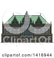 Clipart Of A Sketched German Landmark Bremen Town Hall Royalty Free Vector Illustration by Vector Tradition SM