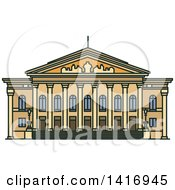 Clipart Of A Sketched German Landmark National Theatre Royalty Free Vector Illustration