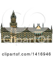 Clipart Of A Sketched German Landmark New Town Hall Royalty Free Vector Illustration by Vector Tradition SM