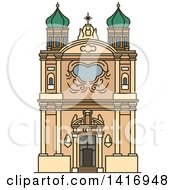 Clipart Of A Sketched Italian Landmark Church Of The Madonna Della Costa In Sanremo Royalty Free Vector Illustration