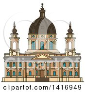 Clipart Of A Sketched Italian Landmark Basilica Di Superga In Turin Royalty Free Vector Illustration