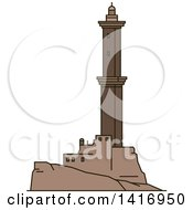 Clipart Of A Sketched Italian Landmark Lighthouse Of Genoa Royalty Free Vector Illustration by Vector Tradition SM