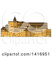 Clipart Of A Sketched Spain Landmark Alhambra Royalty Free Vector Illustration