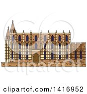 Clipart Of A Sketched Spain Landmark Cathedral Of Santa Maria In Palma Royalty Free Vector Illustration
