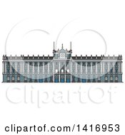 Clipart Of A Sketched Spain Landmark Royal Palace In Madrid Royalty Free Vector Illustration