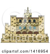 Clipart Of A Sketched Spain Landmark Royal Palace Of La Almudaina In Palma Royalty Free Vector Illustration