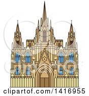 Clipart Of A Sketched Spain Landmark Barcelona Cathedral Royalty Free Vector Illustration
