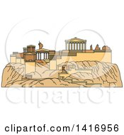 Clipart Of A Sketched Ancient Greek Landmark Acropolis Of Athens Royalty Free Vector Illustration