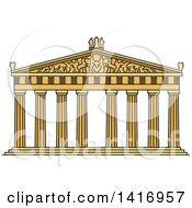 Clipart Of A Sketched Ancient Greek Landmark Temple Of Goddess Athena Parthenon Royalty Free Vector Illustration