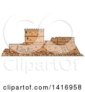 Clipart Of A Sketched Ancient Greek Landmark Castle Of The Knights Of Rhodes Royalty Free Vector Illustration by Vector Tradition SM