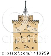 Clipart Of A Sketched Ancient Greek Landmark White Tower Museum Of Thessaloniki Royalty Free Vector Illustration by Vector Tradition SM