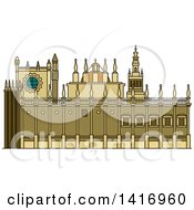 Clipart Of A Sketched Spanish Landmark Cathedral Of Saint Mary Of The See Royalty Free Vector Illustration