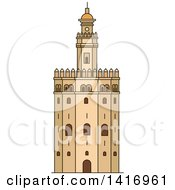 Clipart Of A Sketched Spanish Landmark Gold Tower In Seville Royalty Free Vector Illustration