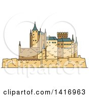 Clipart Of A Sketched Spanish Landmark Moorish Castle Alcazar Of Segovia Royalty Free Vector Illustration by Vector Tradition SM